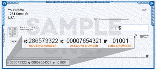 Check Routing and Account Number Location